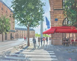 Coffee on the Corner, Paris by Charles Rowbotham - Original Painting on Board sized 12x9 inches. Available from Whitewall Galleries