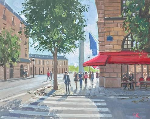 Coffee on the Corner, Paris by Charles Rowbotham - Original Painting on Board